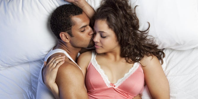 couple being intimate (no sex)