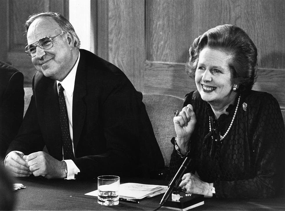 Margaret Thatcher and her German counterpart Helmut Kohl at a press conference in 1983