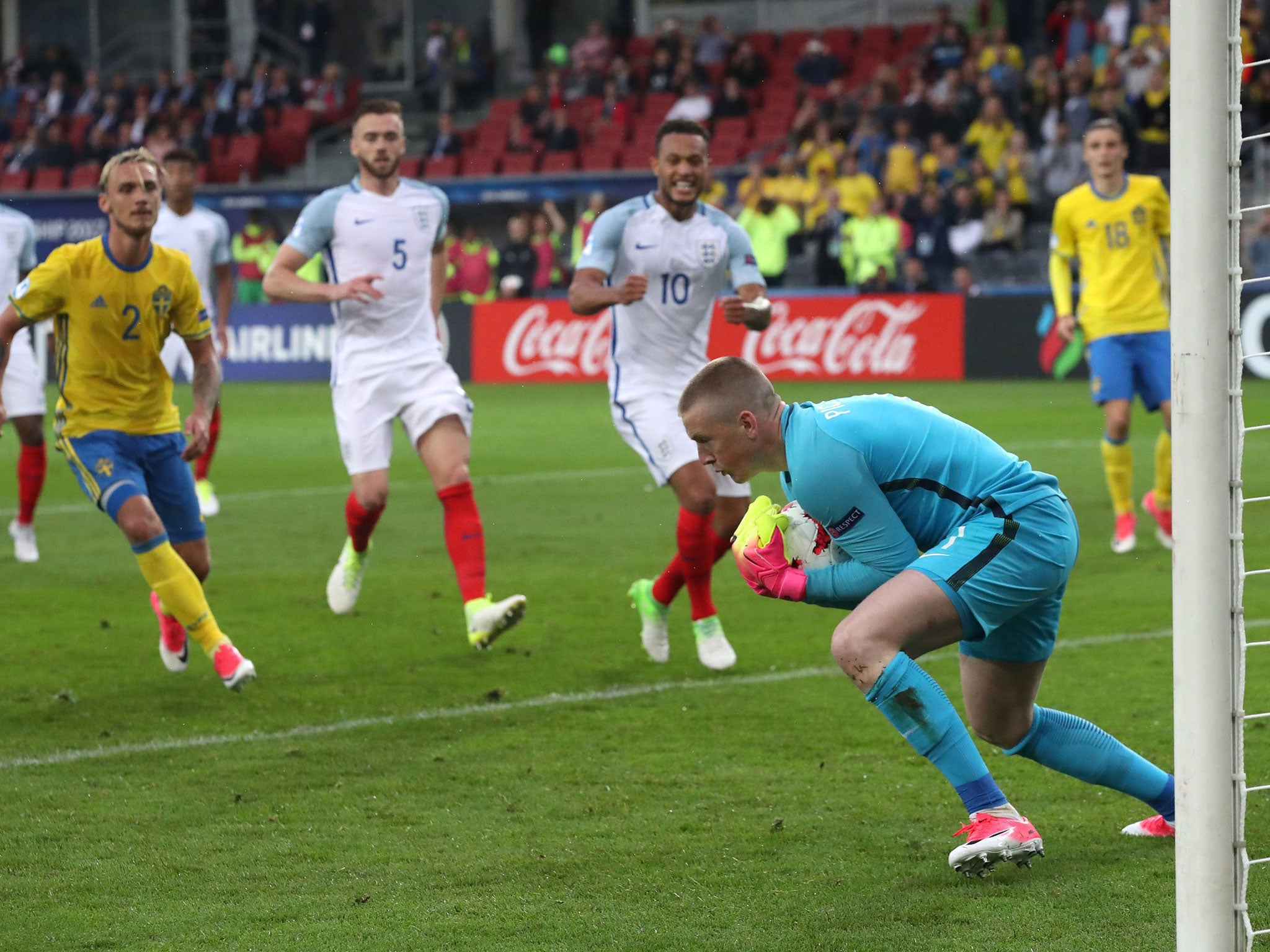 Jordan Pickford caps off fine week with penalty save as England U21s draw with Sweden