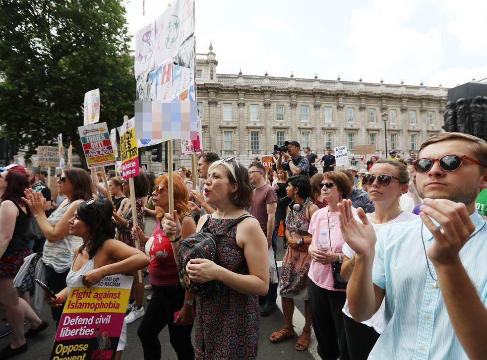 Protesters in Whitehall, London, demanding answers and justice over the Grenfell Tower disaster