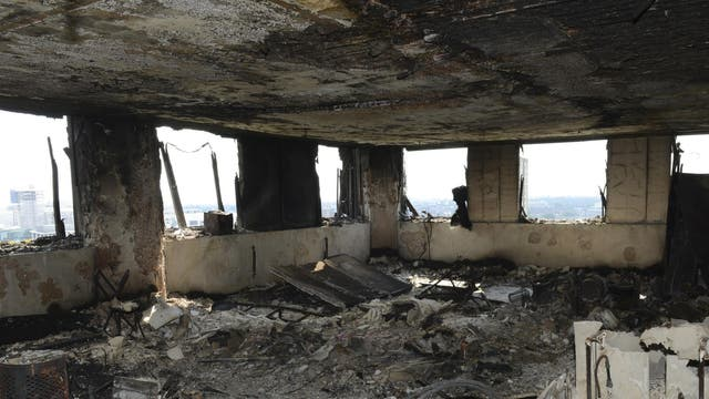 Police have released images from inside the tower where at least 58 people have died