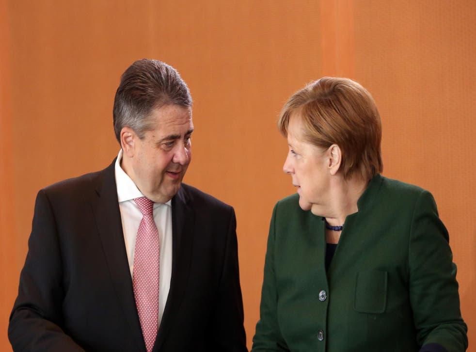 Sigmar Gabriel with Chancellor Angela Merkel