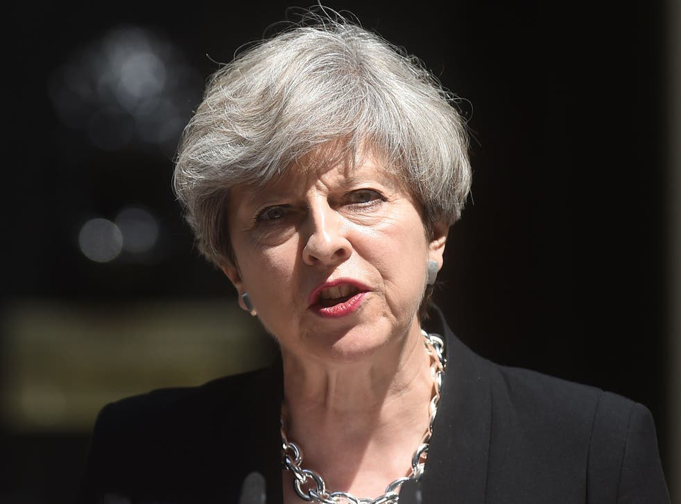 Prime Minister Theresa May speaking in Downing Street after a Cobra meeting following an incident in Finsbury Park, north London, where one man died, eight people were taken to hospital and a man was arrested after a van struck pedestrians