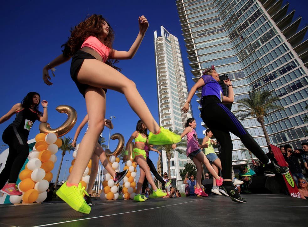 People dance Zumba to raise money for charity in this file photo from 21 May 2016 in Beirut, Lebanon