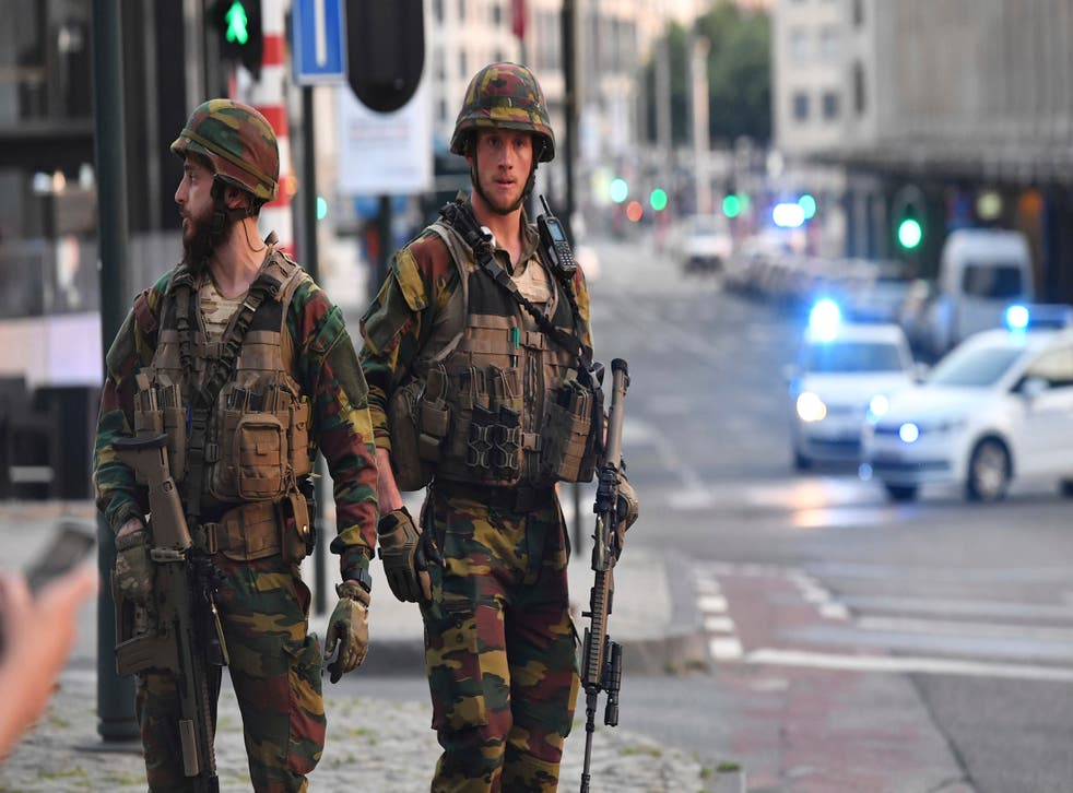 Belgian Army soldiers patrol outside Brussels Central Station