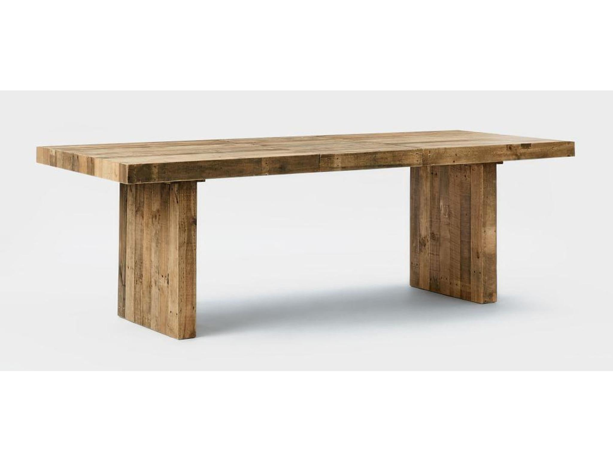 Like a rugged forest picnic bench the emmerson table from west elm has real character thanks to the chunky reclaimed wood that makes it