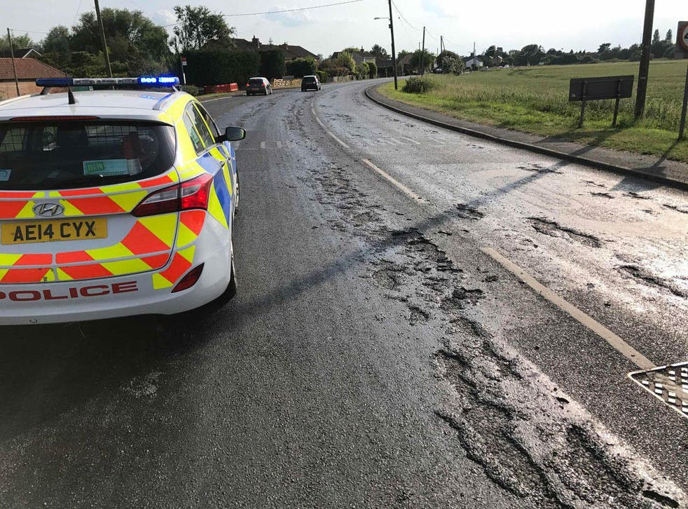 Fenland Police issue warning over melting roads in Cambridgeshire