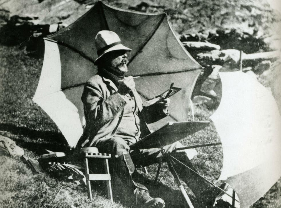 Sargent painting a watercolour in the Simplon Pass in Switzerland by an unknown photographer