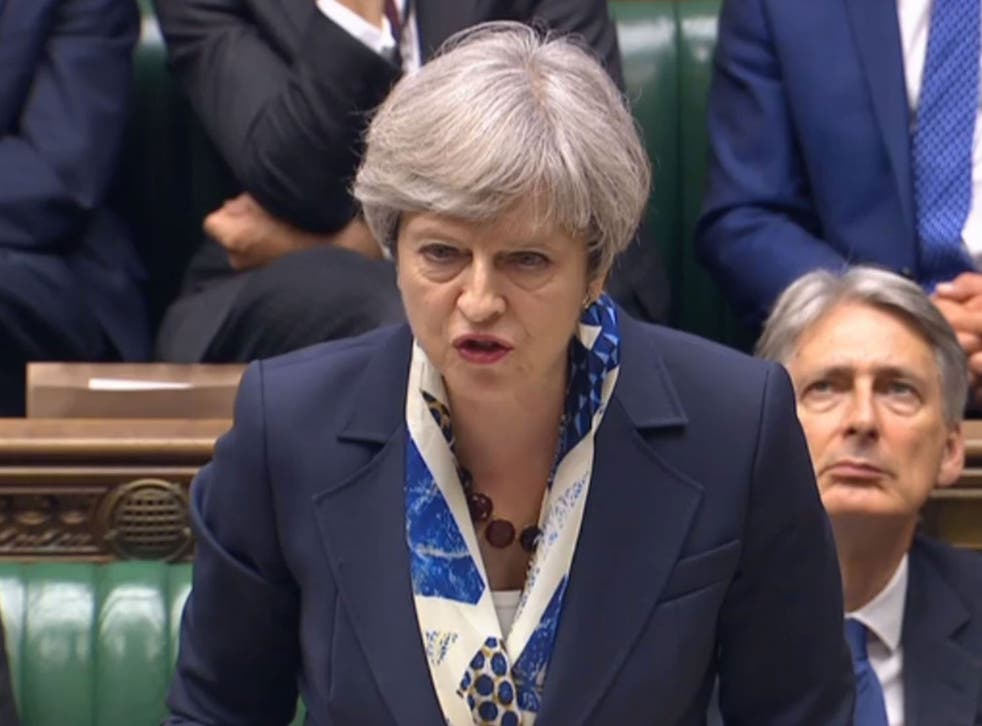 Prime Minister Theresa May speaking in response to the Queen's speech