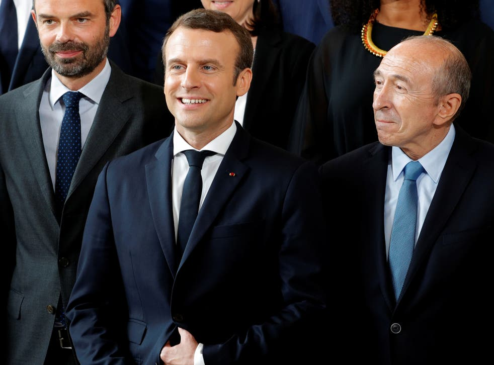 French President Emmanuel Macron (centre), Prime Minister Edouard Philippe (left) and Interior Minister Gerard Collomb at the Elysee Palace in Paris