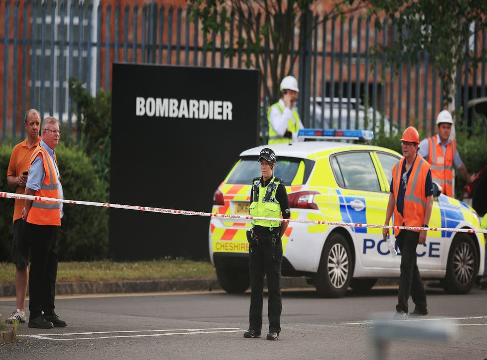Emergency services at the scene where a crane collapsed in Dunwoody Way in Crewe