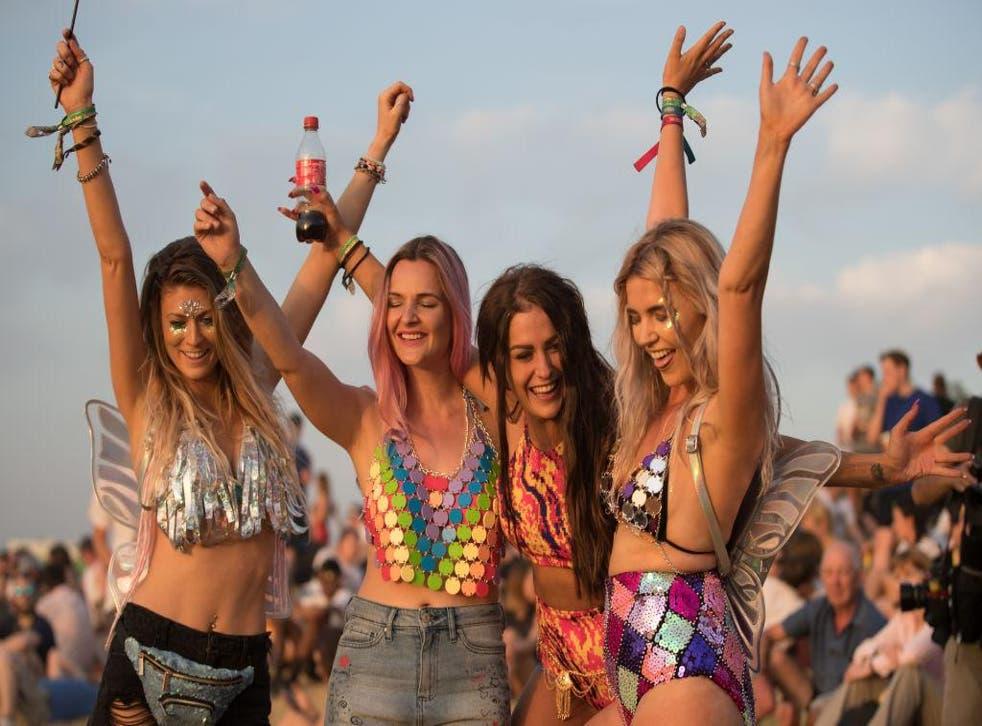 Revellers arrive at Glastonbury Festival at Worthy Farm