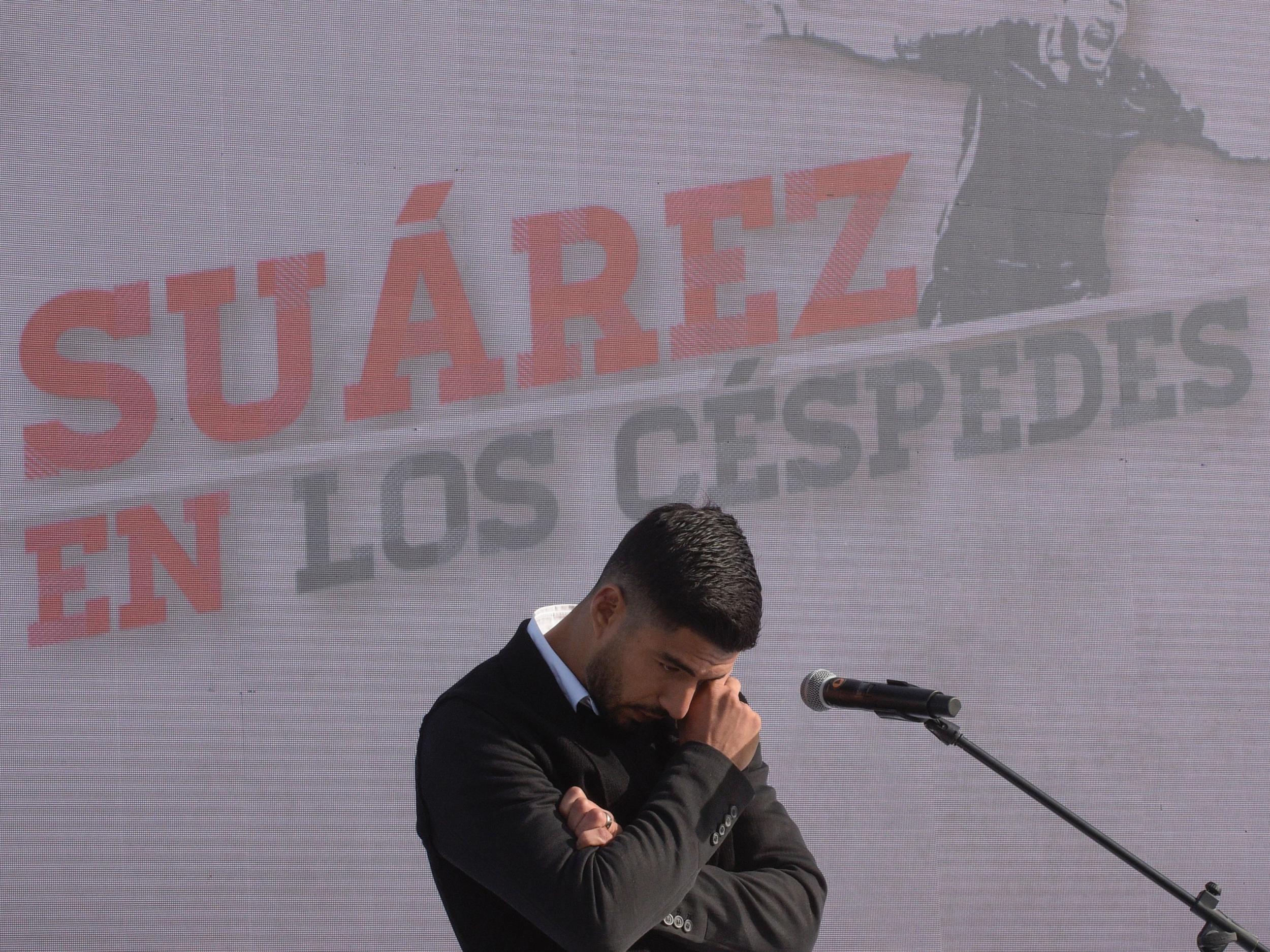 Luis Suarez breaks down in tears as he returns to boyhood club in Uruguay