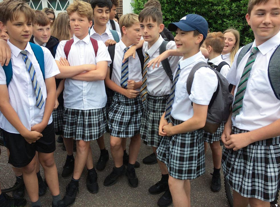 Boys wear skirts to school after being told shorts were not part of the uniform