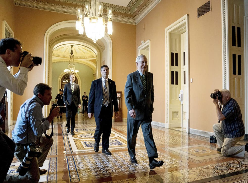 Senate Majority Leader Mitch McConnell arrives on Capitol Hill