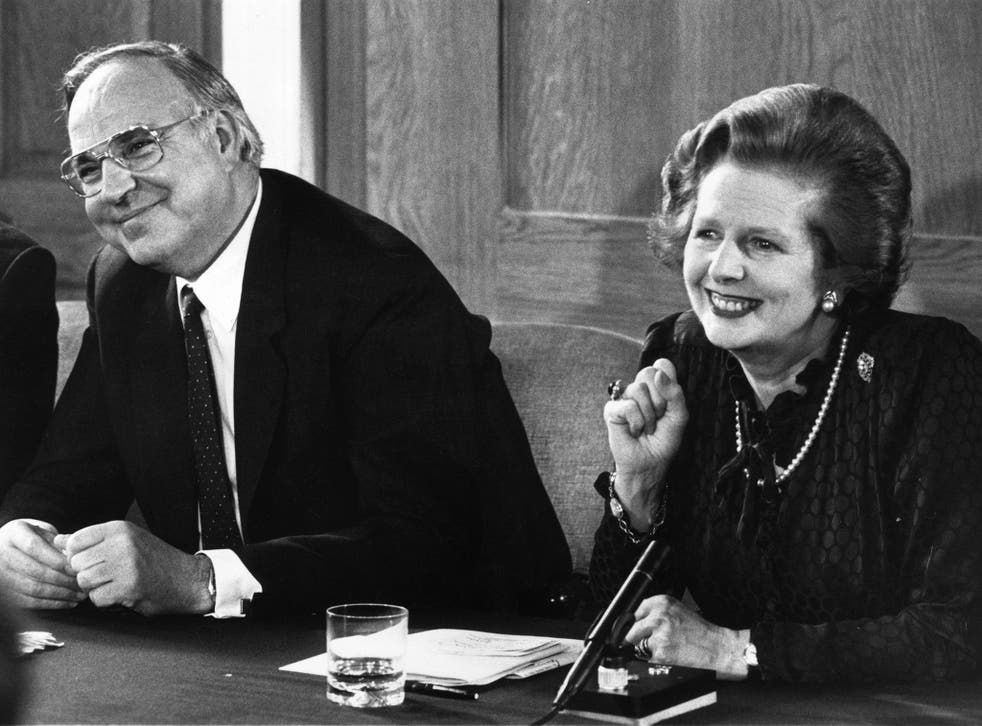 Sidelined: Helmut Kohl, with Margaret Thatcher in 1983, oversaw the reunification of Germany and was a stabilizing influence in Europe after the fall of the Berlin Wall