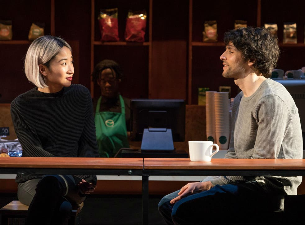 Kae Alexander as Kendra and Colin Morgan as Dean in 'Gloria' at Hampstead Theatre