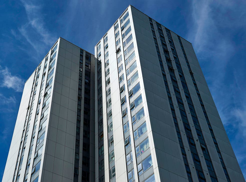 The Dorney residential tower block in Camden, north-west London, is one of five towers on the Chalcots Estate due to have its cladding removed