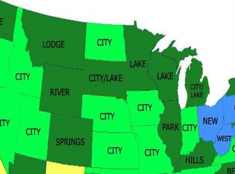 Map of most common words in place names in the US
