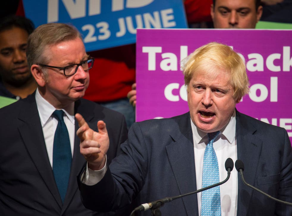 Boris Johnson and Michael Gove at a Vote Leave rally in London last June