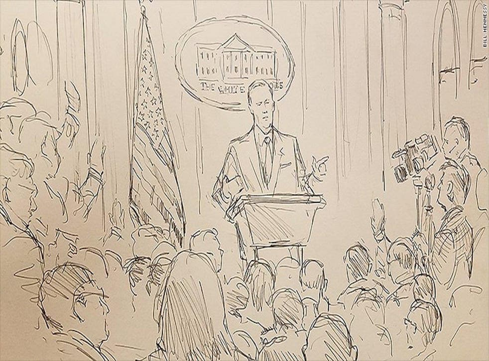 Bill Hennessy's sketch of Friday's press briefing