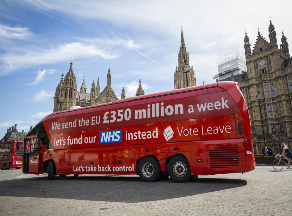 Vote Leave's campaign bus falsely claimed leaving the EU would free £350m a week for the NHS