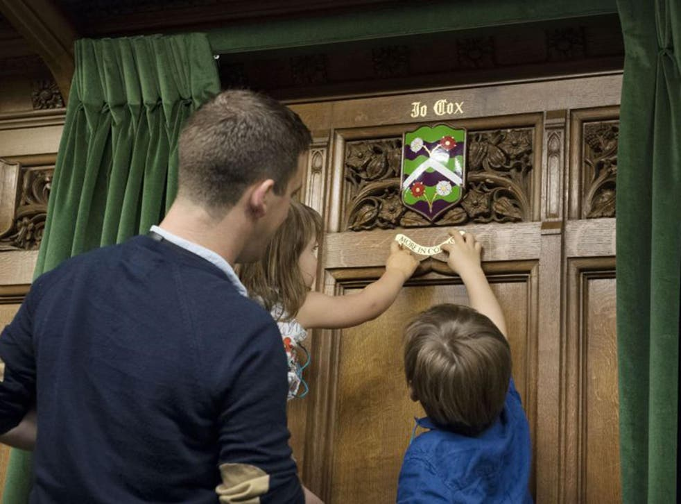 Coat of arms being unveiled in Parliament in honour of murdered MP Jo Cox