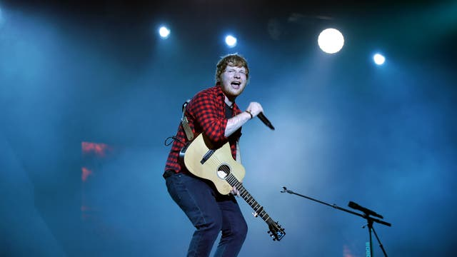Ed Sheeran woos the crowd during his Pyramid Stage performance on the final day of the festival, 25 June 2017