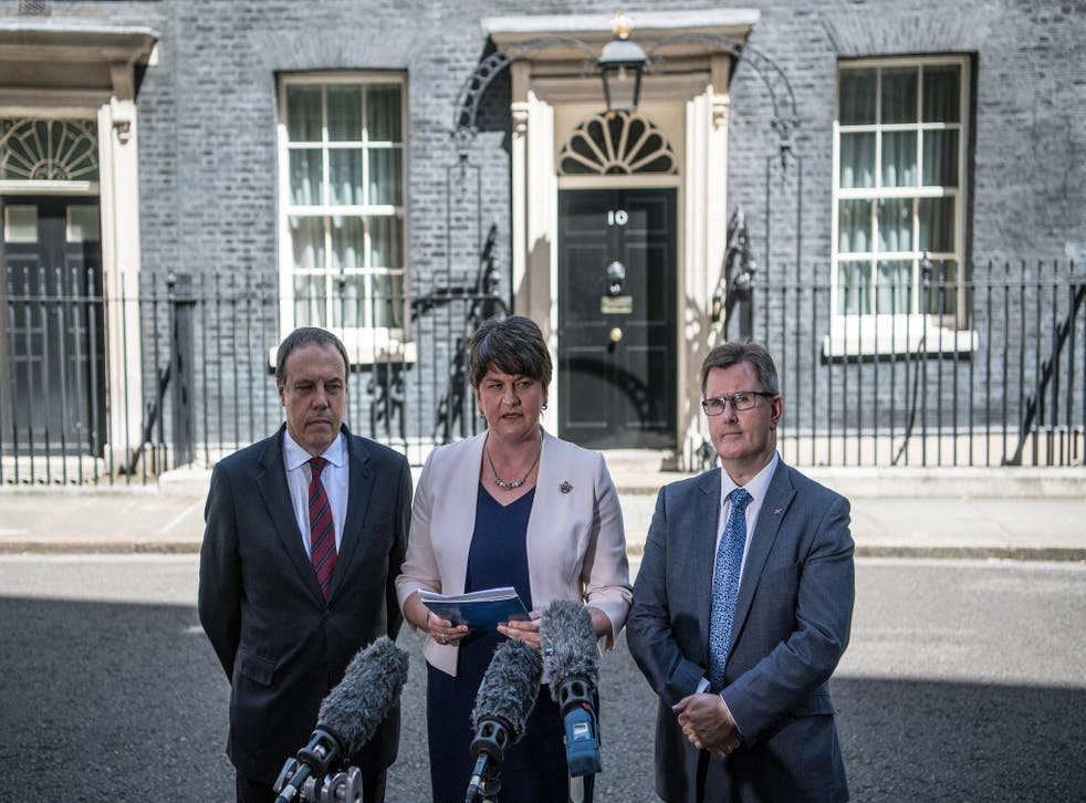 The DUP's Arlene Foster, Nigel Dodds and Jeffrey Donaldson speak to the media as they leave Downing Street on Monday