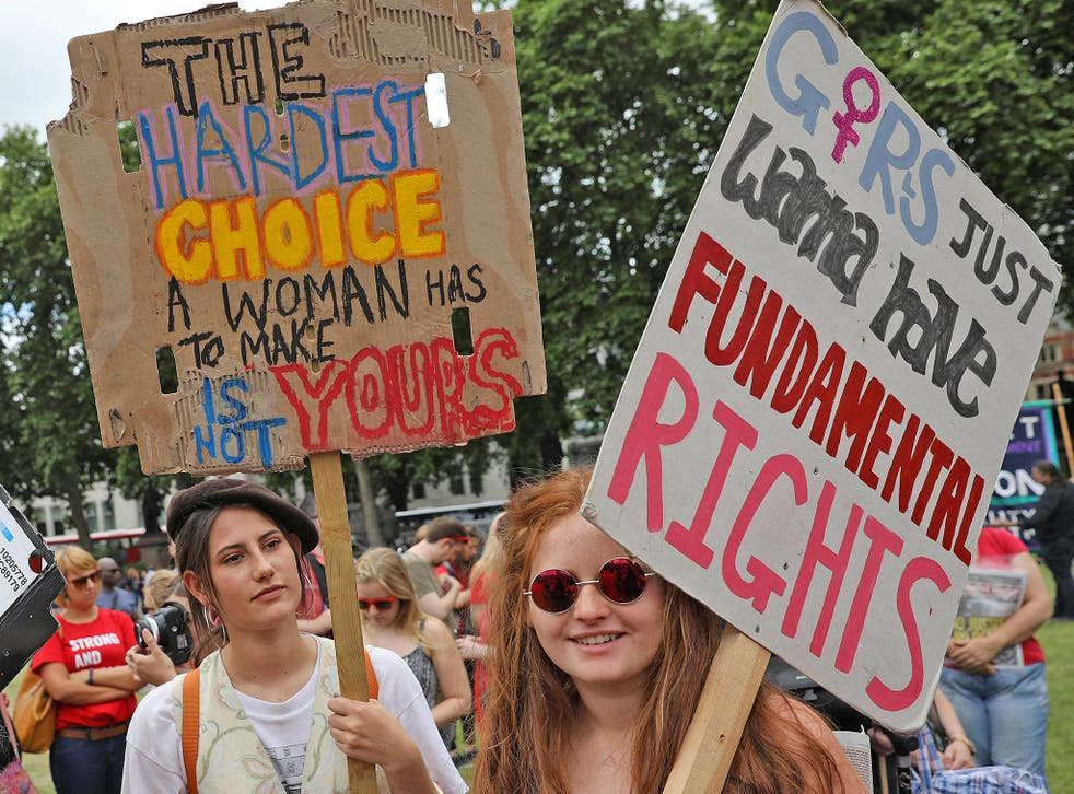 Protesters march in support of legal abortion in Northern Ireland, and against a Tory coalition with the DUP, earlier this month