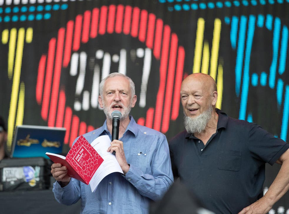 Jeremy Corbyn with Glastonbury-founder Michael Eavis