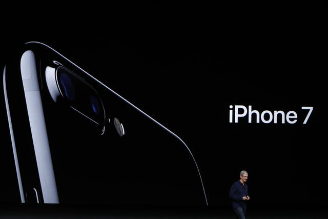 Apple CEO Tim Cook announces the new Apple iPhone 7 during a launch event on September 7, 2016 in San Francisco, California