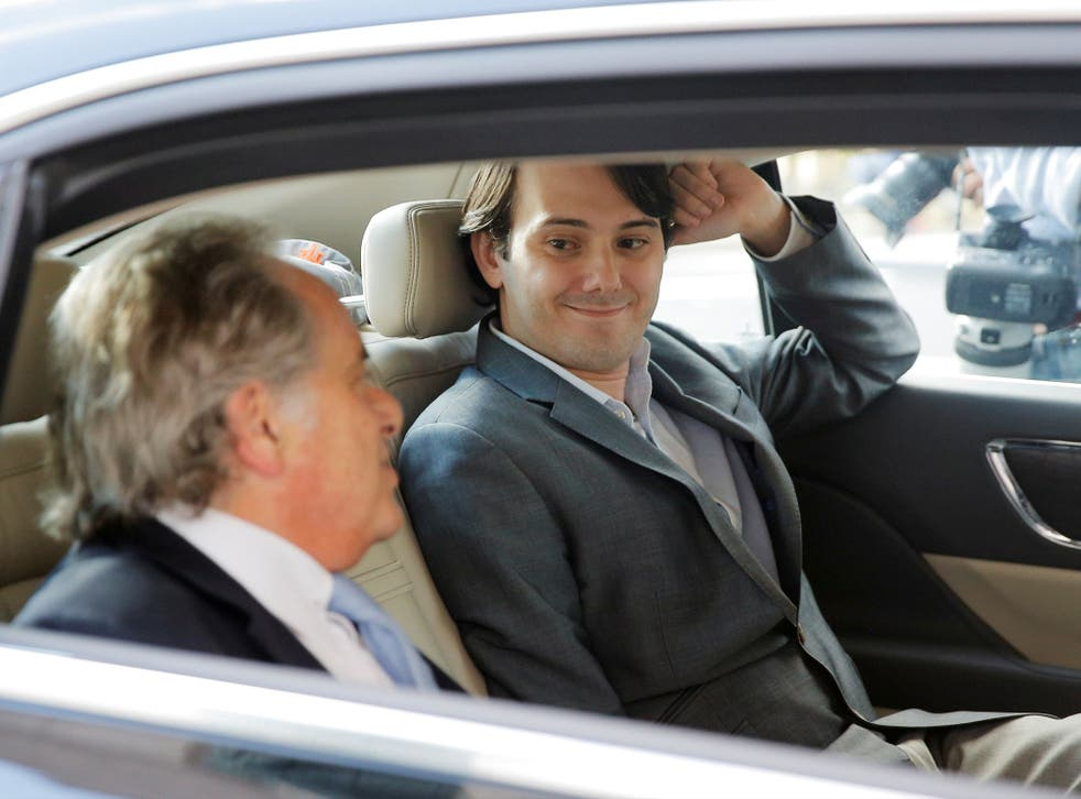 Martin Shkreli with his attorney Benjamin Brafman after a hearing at a US Federal Court in Brooklyn