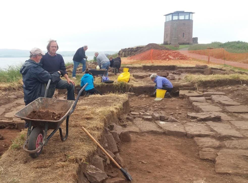 The excavation team work on Lindisfarne