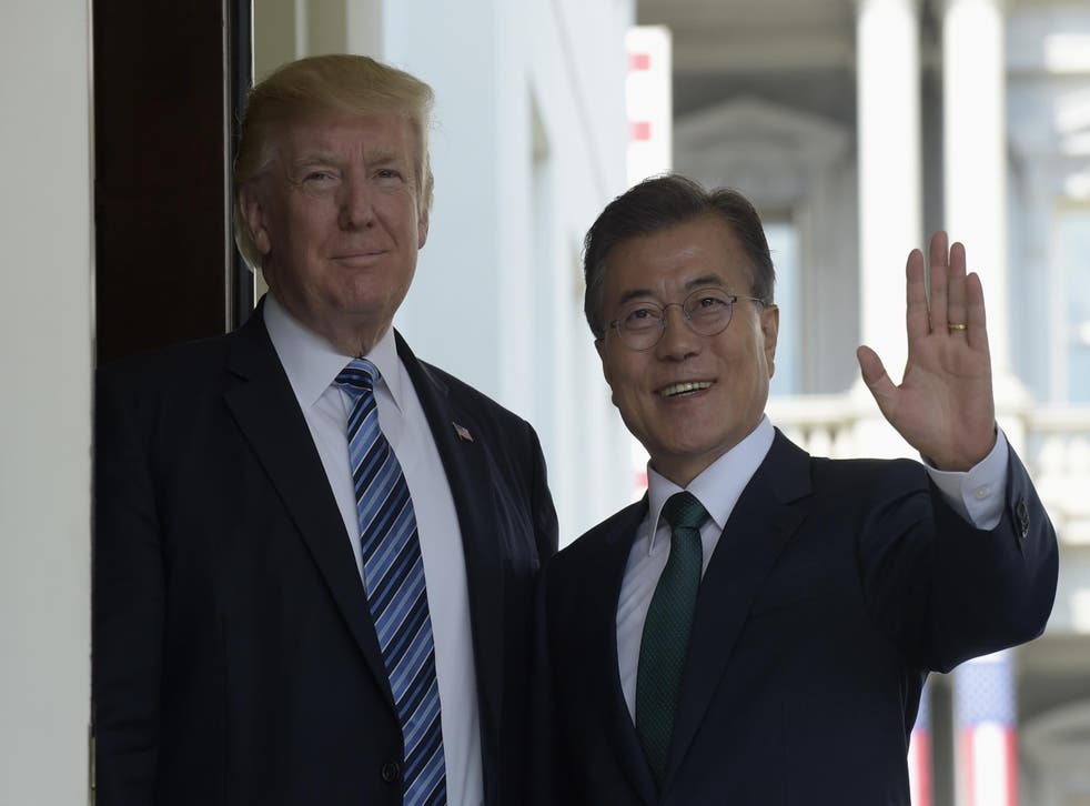 President Donald Trump welcomes South Korean President Moon Jae-in to the White House