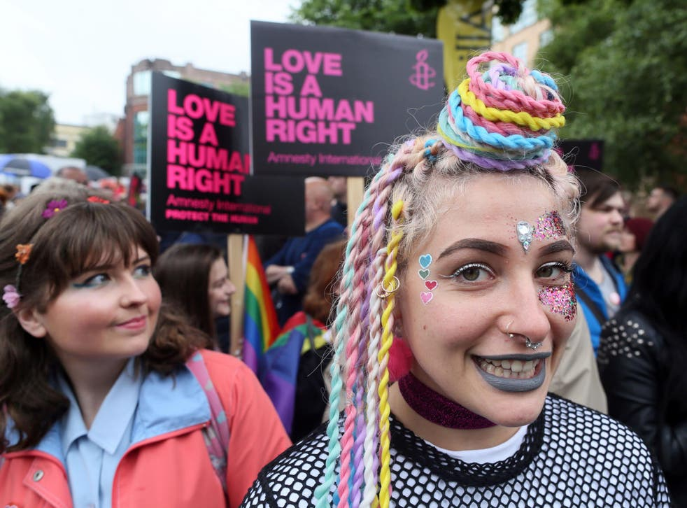 Campaigners march through Belfast in support of same-sex marriage