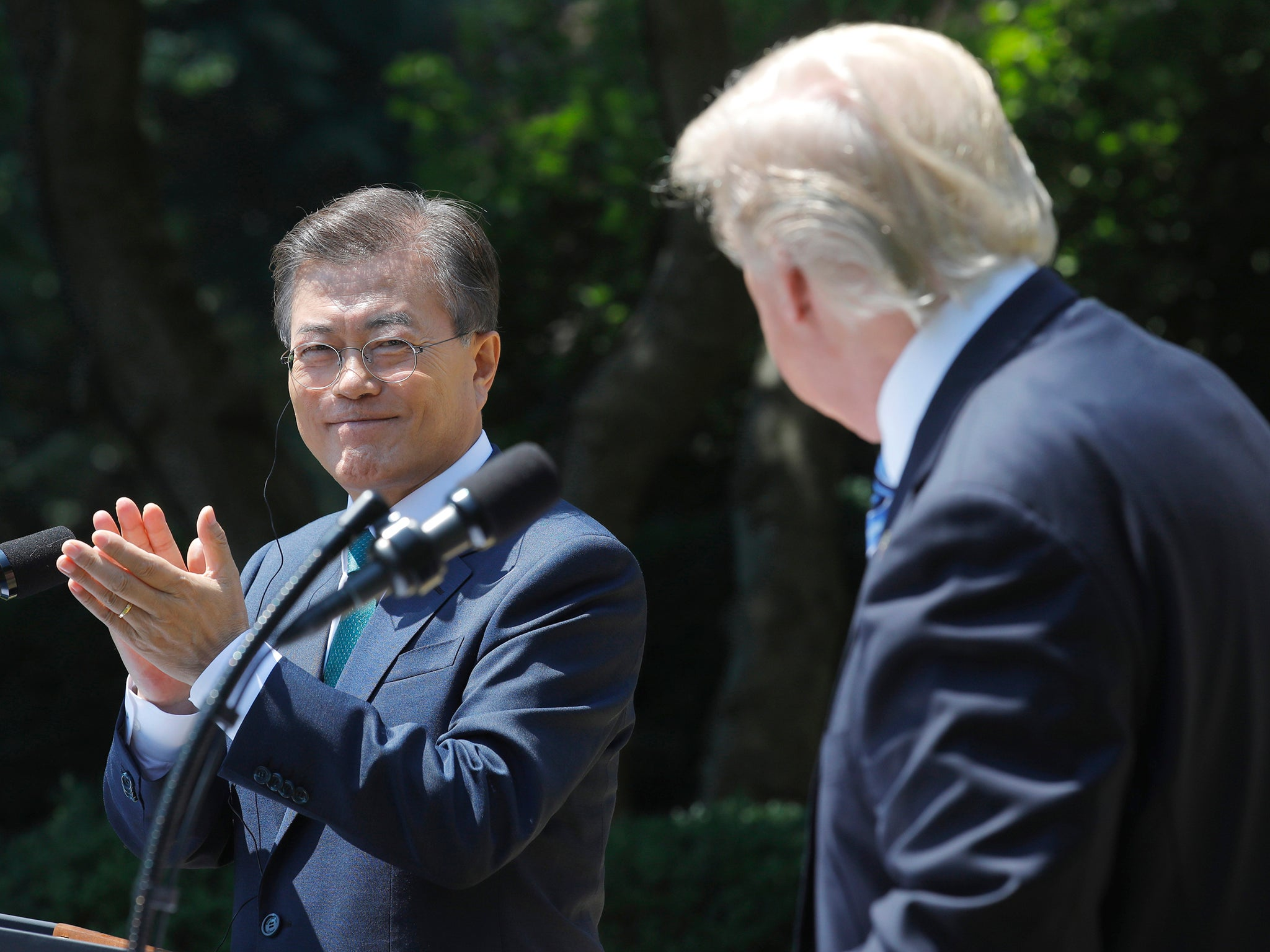 South koreas president moon more confident of peace with north south koreas president moon more confident of peace with north korea after meeting donald trump the independent fandeluxe Image collections