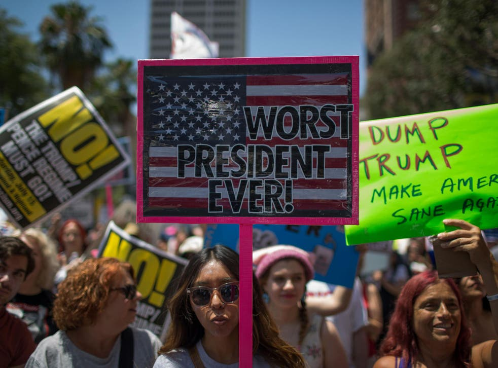 Protest organisers are calling on Britons to take to the streets like those who joined the Impeachment March on Sunday in Los Angeles, California