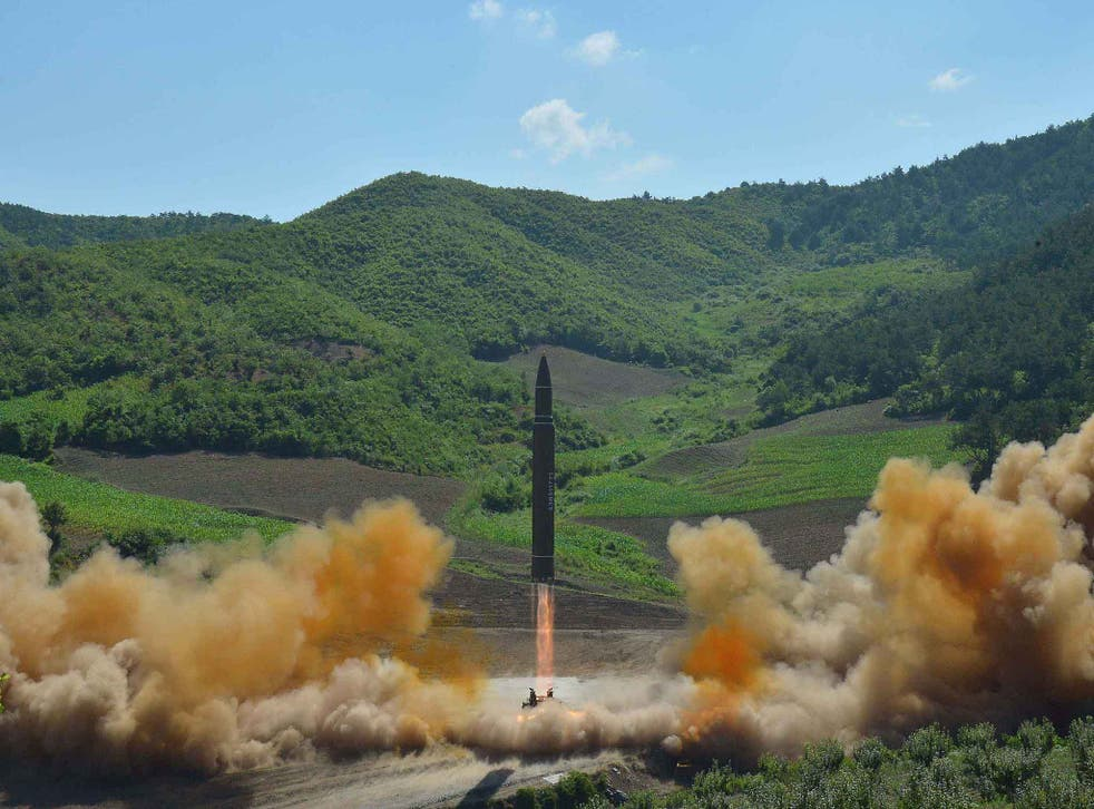 The Hwasong-14 missile being launched at an undisclosed location in North Korea