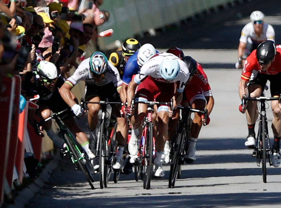 Peter Sagan appeared to push Mark Cavendish into the barriers