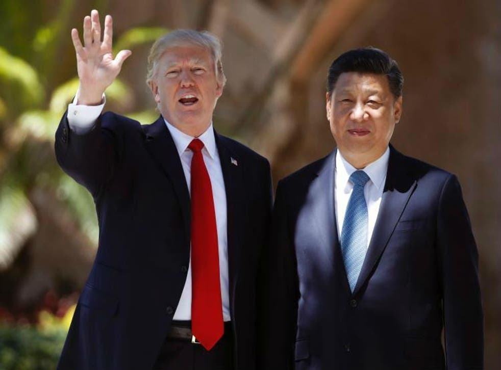 Chocolate cake: Mr Trump hosted Mr Xi at his Mar-a-Lago resort in April