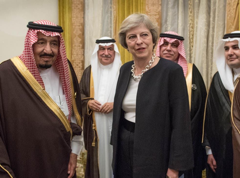Theresa May with King Salman (left) during a visit to Saudi Arabia in April