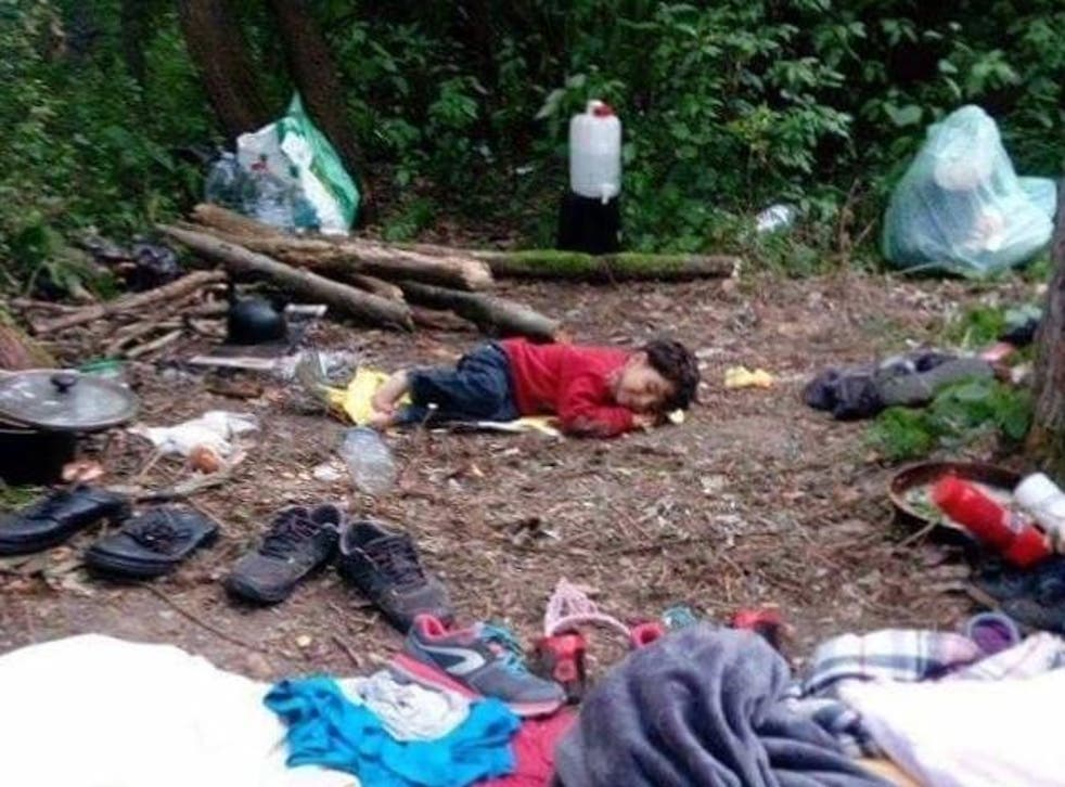 Destitute: around 20 infants are said to be in the unofficial camp pictured, which reportedly accommodates between 300 and 500 refugees hoping to reach the UK