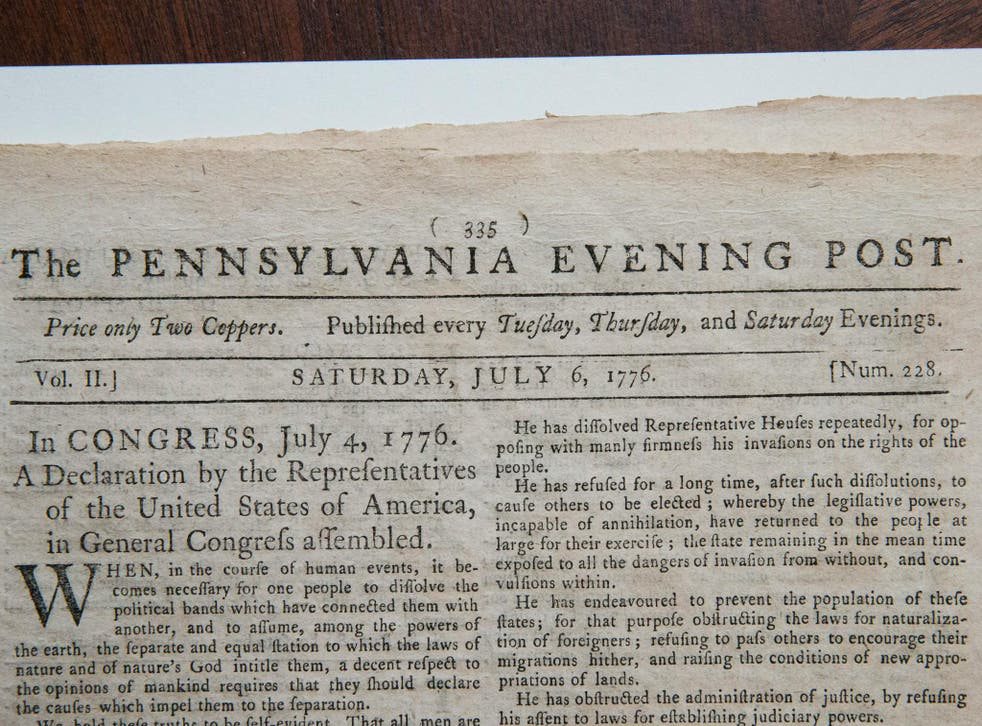 The first known newspaper printing of the Declaration of Independence, printed on 6 July 1776 in The Pennsylvania Evening Post,