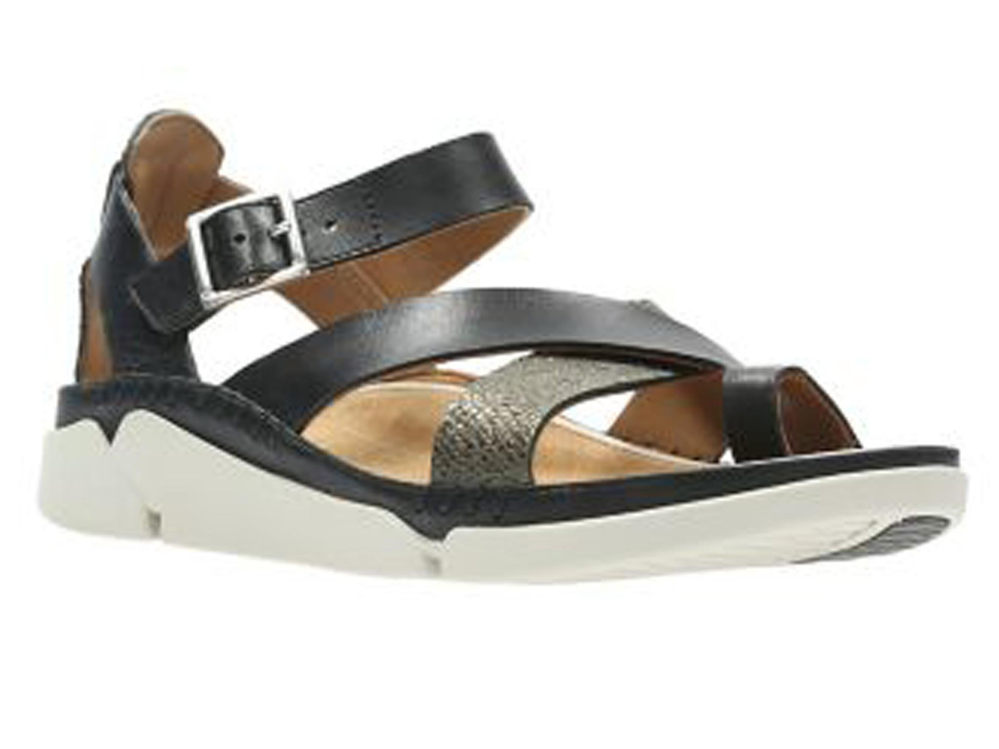 fcbcaab5a00037 Is it a slick city sandal or is it a walking shoe  Clarks has gone all  fashion and swapped their old-school sandals for bright and bold leather  numbers.