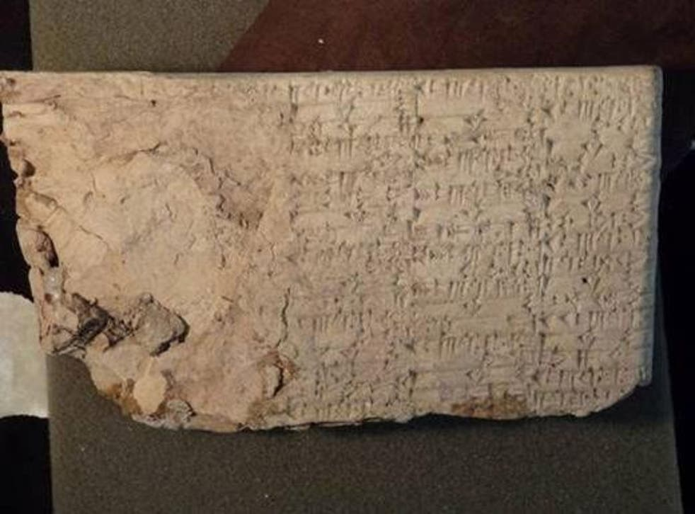 A clay cuneiform tablet from ancient Mesopotamia