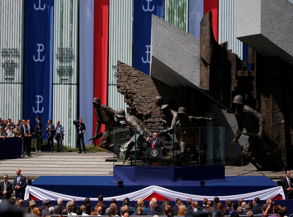 U.S. President Donald Trump gestures during his public speech in front of the Warsaw Uprising Monument at Krasinski Square, in Warsaw, Poland