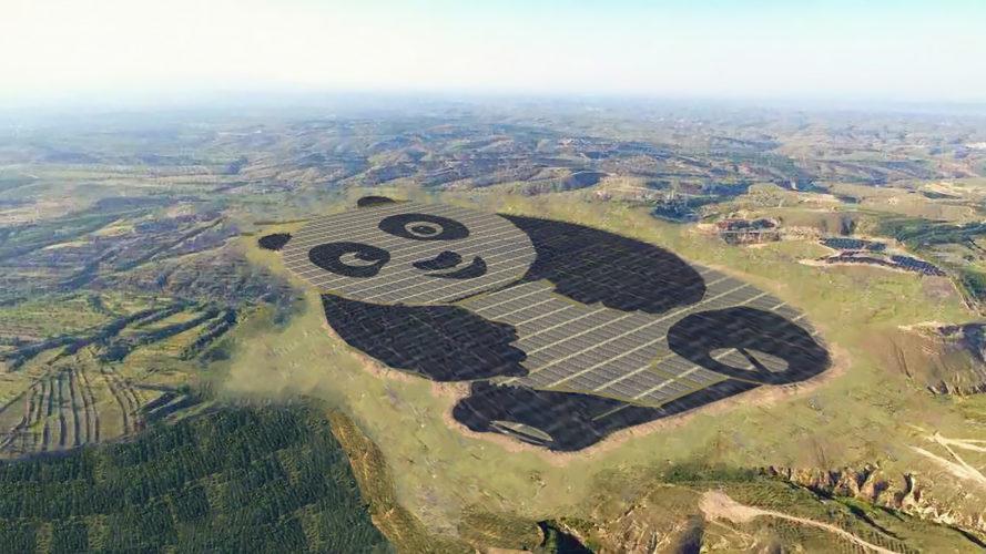 China just built a 250-acre solar farm shaped like a giant panda