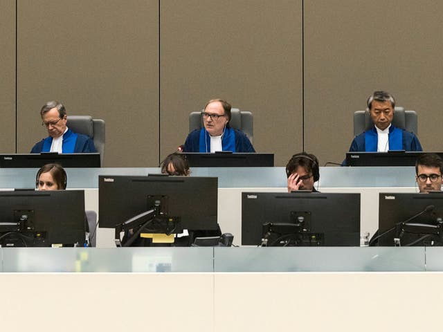 Presiding Judge Cuno Tarfusser of Italy, centre, Judge Chang-ho Chung of Korea, right, and Judge Marc Perrin de Brichambautat of France at the ICC