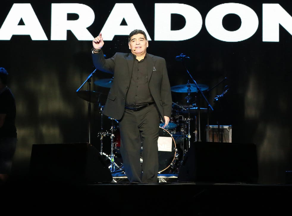Maradona took to the stage to receive the adulation of the thousands in attendance